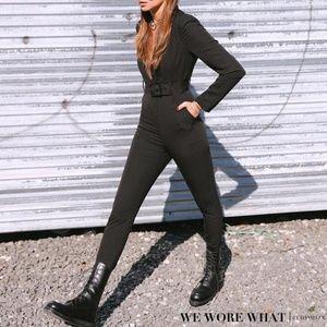 We Wore What Black Blazer Jumpsuit Size S